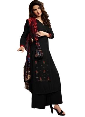 Black embroidered rayon ethnic-kurtis