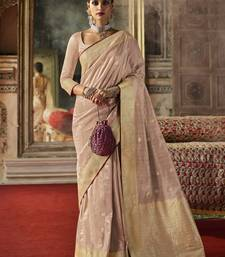 Onion pink woven silk saree with blouse