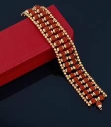 Gold Plated Beads Rudraksha Bracelet   For Boys Men