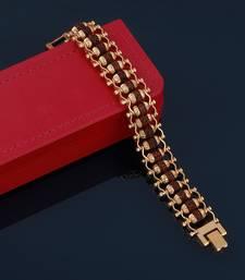 Designe Gold Plated Beads Rudraksha Bracelet   For Boys Men