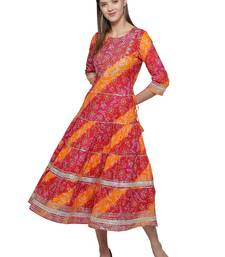 Multicolor embroidered cotton long-kurtis