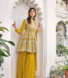 women's Viscose Georgette Yellow Sharara Suit Embroidery Work with Dupatta Semi-Stitched suit