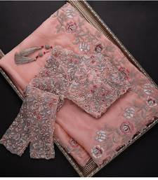 Peach embroidered organza saree with blouse