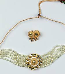 Adorable Gold Plated Pearl Choker Stones Kundan Choker Necklace & Earring Set For Women