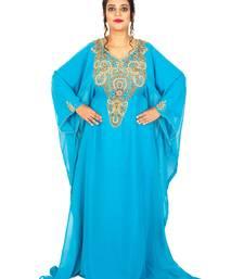 Cyan/ Firozi Wedding Farasha /Abaya/Gown/Gold Embellished Kaftan Maxi Dress