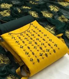 VredeVogel Cotton Embellished, Embroidered Salwar Suit Material  (Unstitched)