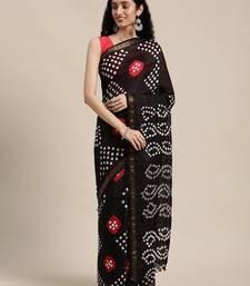 Black Hand Crafted Bandhani art silk saree