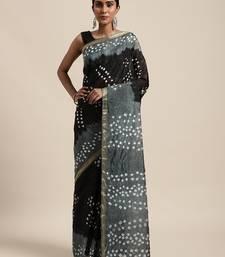 Black Hand Crafted tie & dye/Bandhani art silk saree