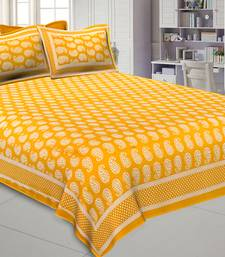 Paisley Double Bedsheet Mustard Yellow Color Fine Cotton With Two Pillow covers