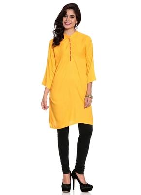 Yellow embroidered rayon ethnic-kurtis
