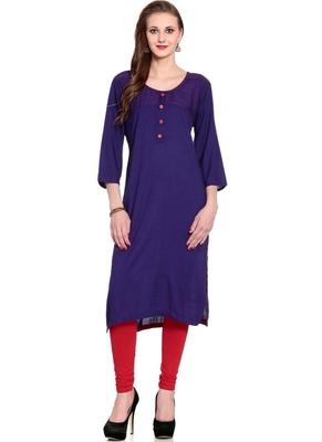 Purple embroidered rayon ethnic-kurtis