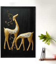 eCraftIndia Golden Deer with Wooden Frame Handcrafted Wall Hanging