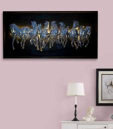 eCraftIndia Silver 7 Running Horses empanalled in Wooden Frame Handcrafted Wall Hanging with Background LED's