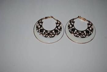 White intricate hoops