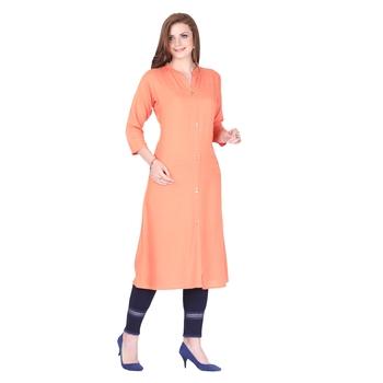 Orange plain rayon long-kurtis