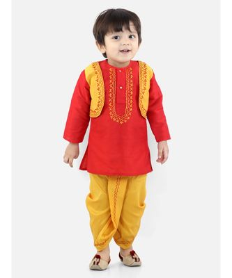 BownBeeAttached Jacket Dhoti Kurta For Boys-Red