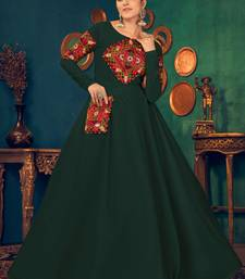 Green embroidered georgette EVENING LONG GOWN