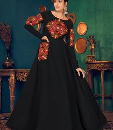 Black embroidered georgette EVENING LONG GOWN