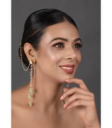 Gold Tone Kundan Inspired Pearl Tassel Earrings with Hair Chain