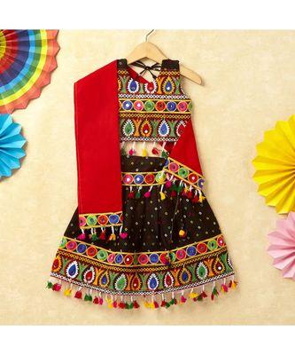 Banjara India Kutchi Emboidered Black Girls Chaniya Choli with Dupatta (CC-POP) - Black