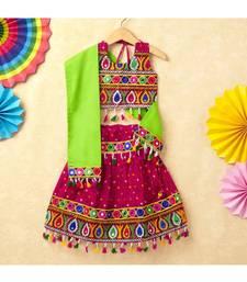 Banjara India Kutchi Emboidered Green Girls Chaniya Choli with Dupatta (CC-POP) - Pink