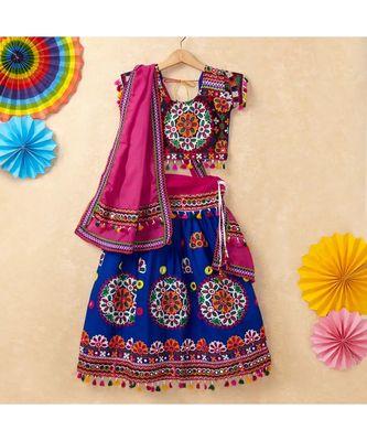Banjara India Kutchi Emboidered Blue Girls Chaniya Choli with Dupatta (CC-RING) - Blue