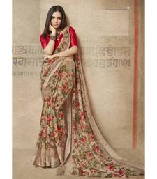 Brown floral  printed linen saree with blouse