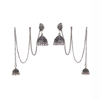 3b84cfb03 Oxidised kashmiri Jhumki Silver Plated Earrings - Jaipur Mart - 525735