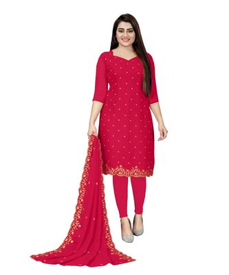 Pink Georgette Embroidered Unstitched Dress Material