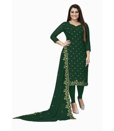 Dark Green Georgette Embroidered Unstitched Dress Material