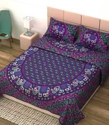 Jaipuri Print Cotton Mandala Double Badsheet  White Elephant 240 TC With 2 Pillow Cover