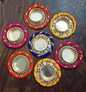 BK Creation Tealight Candle Holders/Diya for /Diwali Decoration Parties, Spa and Balcony Decoration - Set of 6