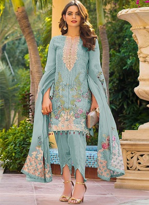 sky-blue georgette semi stitched embroidered top & bottom with dupatta