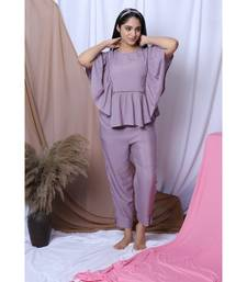 LILAC SOLID LOUNGEWEAR SET WITH HAIRBAND