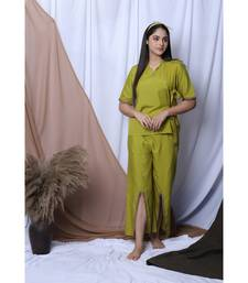LIME GREEN SOLID LOUNGEWEAR SET WITH HAIRBAND