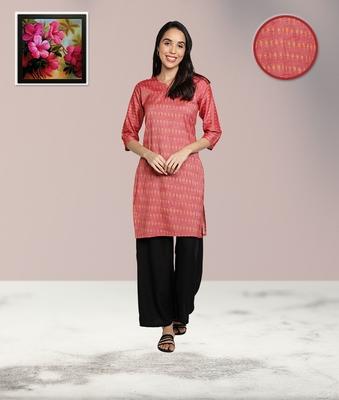 Pink cotton printed stitched   Kurti