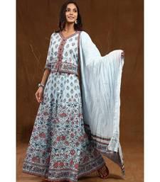 Blue Cambric Printed Flared  Lehenga Choli Dupatta Set