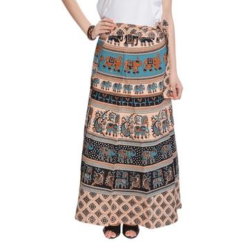 Beige Bagru Printed Cotton Wrap Around Long Skirt