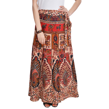 Beige Bagru Printed Cotton Wrap Around Long Skirt