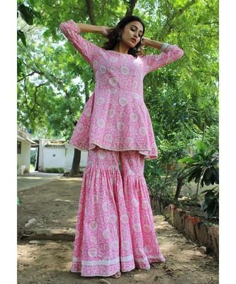 Pink cotton printed stitched  Kurta &  bottom