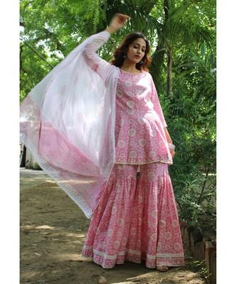 Pink cotton printed stitched  Kurta &  bottom with Dupatta