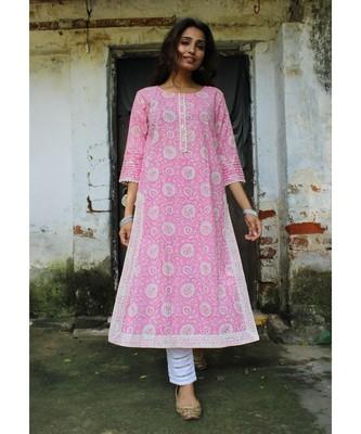 Pink cotton printed stitched  Kurta