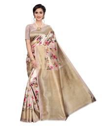 Beige Khadi Printed Saree with Blouse Piece