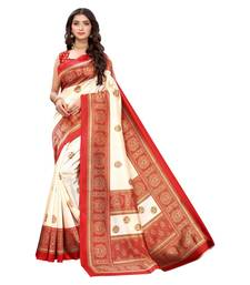 White & Red Art Silk Printed Saree with Blouse Piece