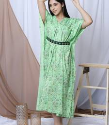 GREEN PRINTED KAFTAN WITH EMBROIDERED BELT