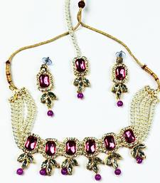 Adorable Gold Plated Pearl Purple Stone Moti Choker Necklace Set with matching earring & Mangtikka