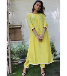 Yellow linen embroidered stitched   kurta &   bottom