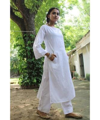 WHIte linen plain stitched   kurta &   bottom