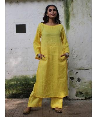 Yellow linen plain stitched   kurta &   bottom