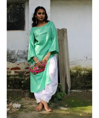 Green linen plain stitched   kurta &   bottom